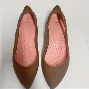 Crocs Womens pointed Flats Jelly Tan Pink size 10